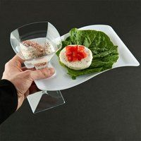 Fineline Wavetrends 1409WH White Plastic Cocktail Saucer with Stemware Hole 6 inch x 9 1/2 inch - 10 / Pack