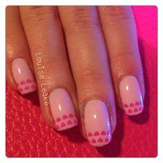 Shellac valentine nails.
