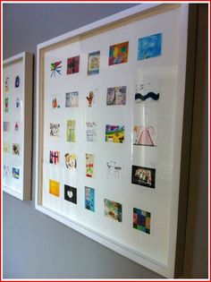 Child's art shrunk and framed. Fabulous idea.