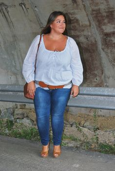 White and denim with hip belt for women Big curvy plus size women are beautiful! fashion curves real women accept your body body consciousness