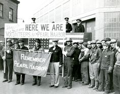Brooklyn Navy Yard workers volunteering for service at Pearl Harbor, January New-York Historical Society. Remember Pearl Harbor, Total War, Vintage New York, Historical Society, World War Two, Wwii, New York City, Pop Culture, Brooklyn