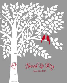 Red and Gray Wedding Guest Book Guestbook Tree Personalized Wedding Print - 16x20-150 Signature Keepsake Guestbook Poster by karimachal on Etsy https://www.etsy.com/listing/165245693/red-and-gray-wedding-guest-book