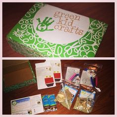 WE JUST GOT OUR GREEN CRAFT BOX IN THE MAIL, WERE MAKING BIRD FEEDERS, WINDOW CLINGS, AND PUPPETS TODAY! #Greenkidscrafts