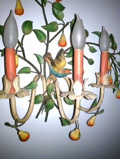 Gorgeous vintage sconces pair tole birds Shabby Chic Lamps, Italian Summer, Vintage Chandelier, Metallic Paint, Indoor Garden, Candle Sconces, Sweet Home, Wall Lights, Valentines