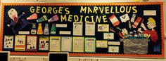 George's Marvellous Medicine Novel Study Display - each child selected an item that went into the medicine to draw :)
