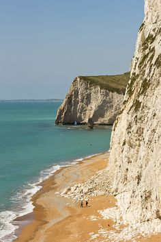 Bat's Head beyond the high cliff of Swyre Head on the Jurassic coast in Dorset, England
