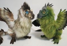 Feather-Raptors by kimrhodes on DeviantArt Cute Fantasy Creatures, Mythical Creatures, Sculpture Clay, Sculptures, Feathered Dinosaurs, Cute Kawaii Animals, Cute Dragons, Fairytale Art, Dinosaurs
