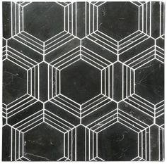 Perfect water-jet cut Hexagon mosaic with Nero Marquina. Choose your choice of grout to completely change the look. Here we show two sample boards of the same product one with Black and one with White grout. Almost creating two different products. Black Marble Tile, Black Grout, Honed Marble, Marble Mosaic, Mosaic Tiles, Mosaics, Bungalow Renovation, Set Up An Appointment, Painted Pots