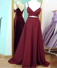 simple prom dress,v neck prom dresses,burgundy evening dress,long prom dress