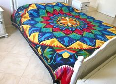 A great use of work made in Chareh El Khiamiah - MulticoloredPieces: August 2012 Tent Fabric, Best For Last, Bird Sculpture, Antique Quilts, Textile Artists, Cairo, Home Projects, Fiber Art, Outdoor Blanket