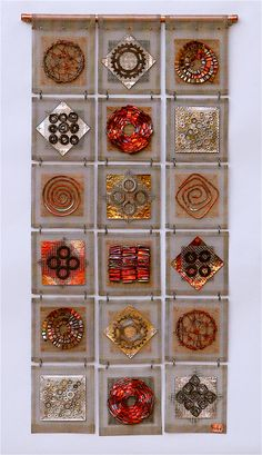 Frances Solar | 'Scrapyard Quilt' stainless mesh, copper wire & strip, Bike cogs, washers