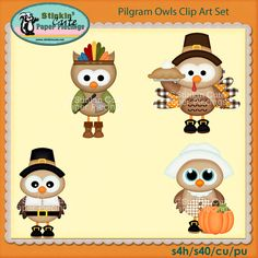 Pilgram Owls Clip Art Set