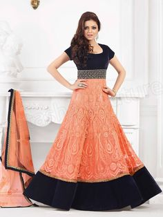 #Designer Anarkali #Orange #Indian Wear #Desi Fashion #Natasha Couture #Indian Ethnic Wear # Salwar Kameez #Indian Suit