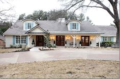 from fixer upper hgtv/French country cottage. Café Exterior, Dream House Exterior, Exterior House Colors, Exterior Design, Exterior Shutters, Wood Shutters, Exterior Paint, Blue Shutters, Exterior Signage