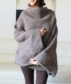Poncho, wool knitted poncho, italian wool sweater cape