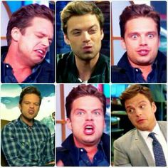 Sebastian Stan doing weird things with his face but still managing to look completely adorable!