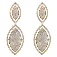 Hot Selling Woman Trendy Leaf Shape Wedding Earrings Zirconia Crystal Micro Pave Setting Wedding Jewelry Lead and Nickel Free