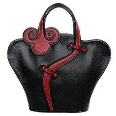 Estilo étnico bolsa de asas de cuero de la PU y postales de la Mujer Diseño