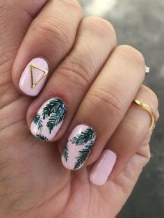 Tropical Palm Print Nail Art - Rose Gold Lining summer nails pink nails handpainted nails nail studs triangle stud Click image for info Spring Nail Art, Spring Nails, Summer Nails 2018, Spring Art, Pretty Nails, Fun Nails, Sparkle Nails, Rose Nail Art, Green Nail Art