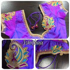 Boutique of the Month - Ishithaa Bridal Shop Cutwork Blouse Designs, Best Blouse Designs, Saree Blouse Neck Designs, Simple Blouse Designs, Embroidery Neck Designs, Bridal Blouse Designs, Hand Embroidery, Embroidery Works, Embroidery Stitches