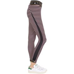Tommy Hilfiger Collection Women Striped Logo Microfiber Leggings ($120) ❤ liked on Polyvore featuring pants, leggings, wide-waistband leggings, microfiber leggings, stripe pants, stripe leggings and striped pants