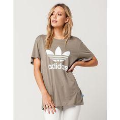 Adidas Trefoil Womens Boyfriend Tee ($30) ❤ liked on Polyvore featuring tops, t-shirts, boyfriend t shirt, adidas t shirt, crew t shirts, crew neck t shirt and short sleeve tee