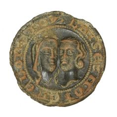 lovers' heads. Legend: BAISEZ MOI ENE BONE FOY [Fr = Kiss me in good faith]  PAS SOM-4028B4