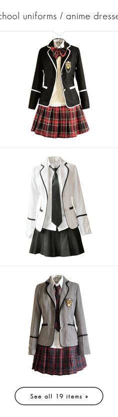 """""""school uniforms / anime dresses"""" by demigod-wizard-hacked-elf ❤ liked on Polyvore featuring dresses, uniforms, cosplay, other, school, uniform, costume, anime, costumes and skirts"""