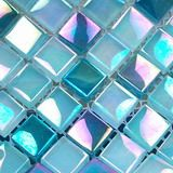 Morning water surface  glass tiles, one of crystal glass mosaic tiles from Builder Elements, with metallic iridescent refection on the mosaic glass tiles surface, sku: MER0010, color: blue.