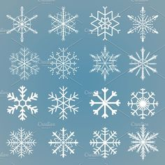 Vector snowflakes set by piter.goskov on Creative Market - Vector snowflakes set by piter.goskov on Creative Market - Snowflake Drawing Easy, Simple Snowflake, Drawing Snowflakes, Images Of Snowflakes, Snowflake Designs, Christmas Snowflakes, Christmas Crafts, Christmas Decorations, Christmas Ornaments