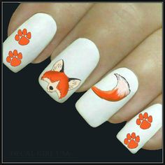 Animal Nail Decal Fox Nail Art 20 Water Slide by DecalGirlUSA