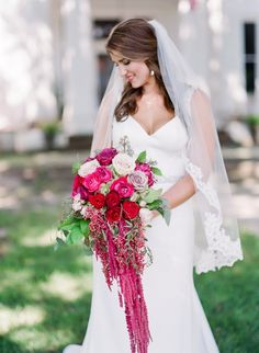 Romantic Red, Pink, and Lavender Mississippi Wedding Red Wedding, Wedding Day, Wedding Bouquets, Wedding Dresses, Family Affair, Red And Pink, Lavender, Amaranthus, Wedding Inspiration