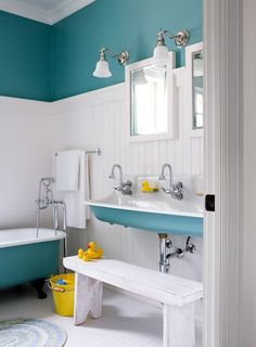 colored sinks, counter-tops or tub. bright apple green works too!