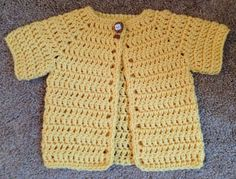 Buttercup Yellow Crocheted Baby Sweater Size by SweetLittleLilac, $22.20