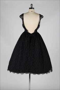 vintage 1950s dress . black chantilly lace . by millstreetvintage