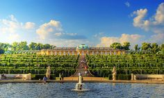 """Castle of Sans Souci _ rumored to be the Versailles near Berlin _ built as a summer hide away from stress _ Sans Souci being French for """"Without Trouble"""" _ doesn't everyones summer get away look like this? mine does! just about 100x smaller & less adorned! _ beautiful!"""