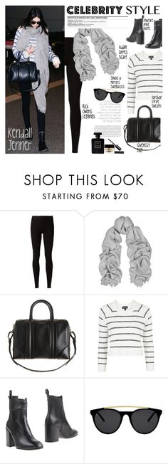 """""""Celebrity Airport Style: Kendall Jenner"""" by junglover ❤ liked on Polyvore featuring Rick Owens Lilies, ADAM, Givenchy, Topshop, Eqüitare, Smoke x Mirrors, Chanel and SAM."""