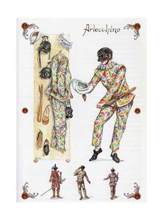 Arlecchino's full costume parts and mask.