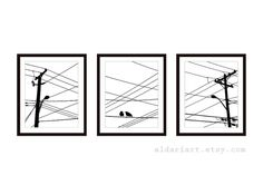 Urban Power Lines and Birds Print Set Many colors and sizes available. set sof 3 Available in 5x7 or 8x10 in this listing. Shown in 8x10 on 8.5x11 paper. The 5x7 size is borderless. The paper has a matte finish. *Frames NOT included. HOW TO ORDER: **Please specify which color you