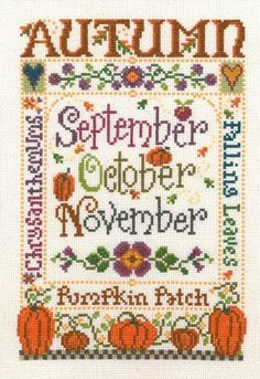 "This cross stitch pattern titled ""Autumn"" is from Imaginating and is one of four designs depicting the seasons of the year. Autumn features Chresanthemums, pumpkins and fall leaves - what else? The cross stitch pattern is stitched with DMC"