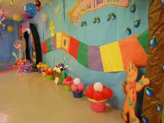 Candy Land Hall or Back drop Decorations School Dance Decorations, Farewell Decorations, Christmas Door Decorations, Hall Decorations, Candy Land Decorations, Candy Theme Birthday Party, Candy Land Theme, Candy Party, Candy Land Christmas