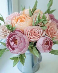 """1,344 Likes, 27 Comments - Paper Flowers  Бумажные Цветы (@papermintdecor) on Instagram: """"Девочки, большое спасибо за участие во вчерашнем опросе!  Вот результат! Сделала в итоге без…"""""""