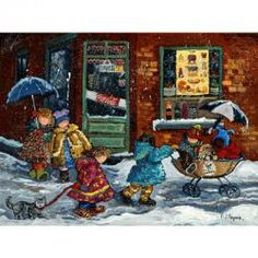 RAVENSBURGER 1000PC P. PAQUIN PUZZLE - FIRST SNOW