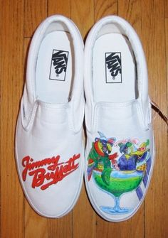 Jimmy Buffett design hand-painted on shoes