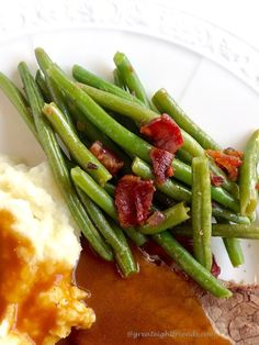 This Green Beans, Bacon and Onion side dish is the perfect do ahead dish for ANY meal.  AND it is gluten free and dairy free. Perfect!