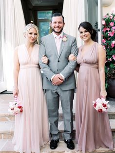 a romantic palette of #blush for the #bridesmaids Photography: Melissa Brandman - melissabrandman.com, Dresses by http://shareen.com/shop/