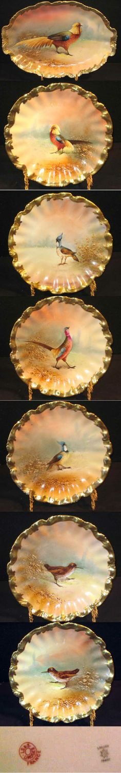 Limoges France 7 pc Game Set platter 7 plates. Various exotic birds on each piece, heavy gold trim around rims | Antique Helper
