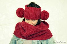 Red Knitted Cowl and Pom Pom Headband Set - Wine Red - Burgundy Pom Pom Headband, Knit Cowl, Red Burgundy, Sock, Monkey, Peeps, Cute, November, Handmade