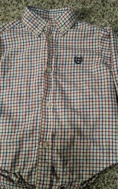 Toddler Boy 3T Chaps 100% Cotton Plaid Button Down Long Sleeve Shirt Preppy EUC  #Chaps #Dressy #Preppy #ButtonDown