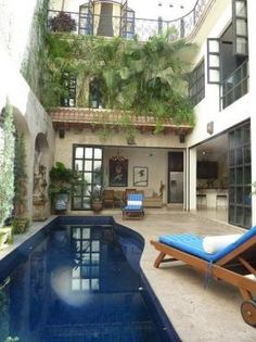 Courtyard pool with mediterranean flair